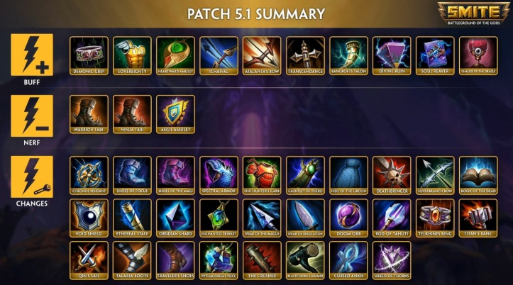 SMITE Season 5 Patch 5.1 Item Changes