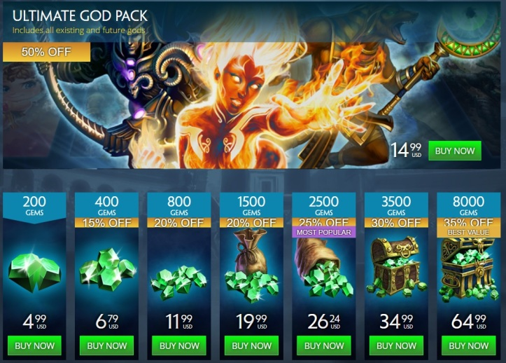 SMITE Birthday Gem Sale 2018