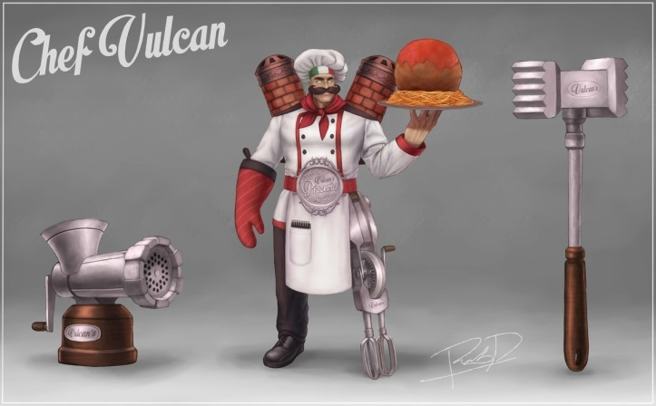 SMITE Chef Vulcan Skin Concept by @Rob_Draws