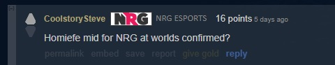 Homiefe Subs for NRG Yammyn at Worlds Reddit Comment